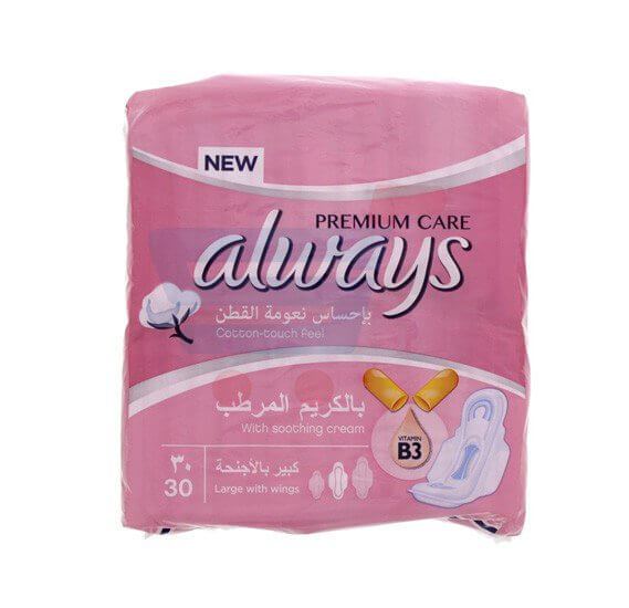Always Cotton Feel Large With Wings 30 Pads
