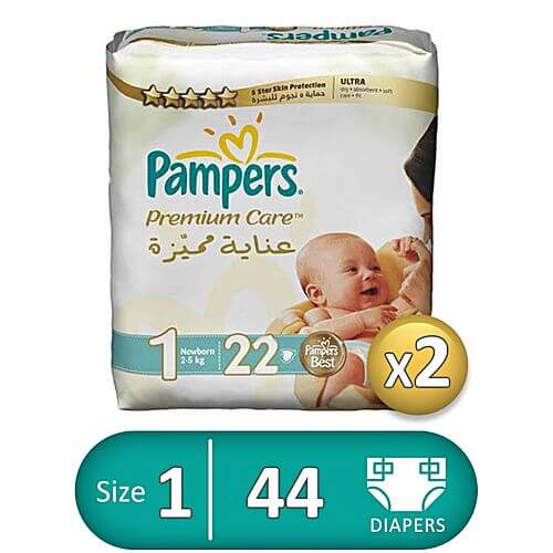 Pampers Premium Care Diapers - Size 1 - 2 Packs - 44 Pcs