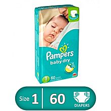 Pampers Baby Dry Diapers - Size 1 - 60 Pcs