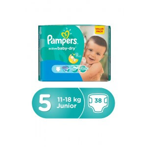 Pampers Diaper Active Baby Junior Size 5, 11-18kg 38pc