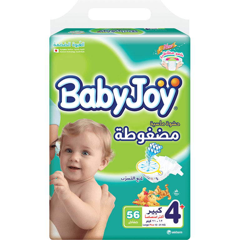 BabyJoy Diapers Large Plus No 4+, 56 pcs