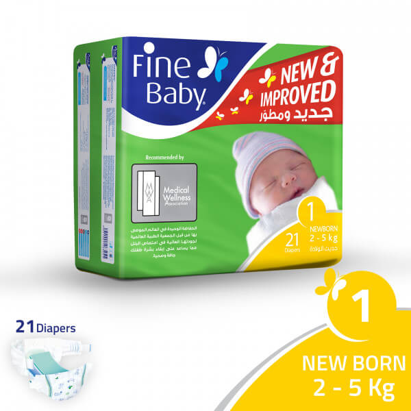 Fine Baby Super Dry - Smart Lock, New Born 2-5Kgs, Economy Pack, 21 Count