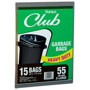 Sanita Club Garbage Bag 55 Gallons x 15 Bags