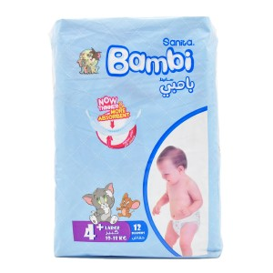 Sanita Bambi Size 4+ Large+, 10-18 KG 12 diapers