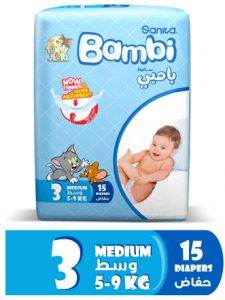 Sanita Bambi Size 3 Medium, 5-9 KG Regular Pack, 15 diapers