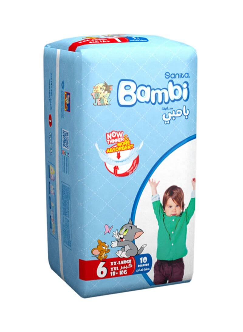 Sanita Bambi Disposable Diapers Extra Extra Large Size 6 (18 Kg), 10 Counts