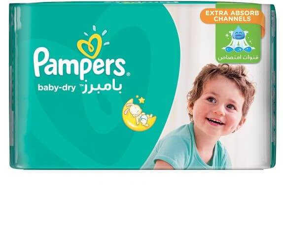Pampers Baby-Dry Diapers, Size 6, Large XXL, 15+ kg, , 14 Count