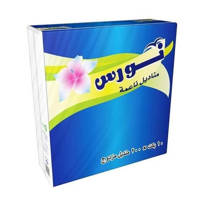 Nawras Facial Tissues, 200 Sheets 2 Layers, 10 Nylon Bags