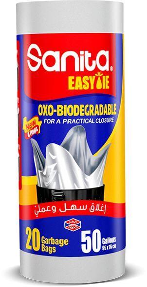 Sanita Easy Tie Garbage Bag On Roll 50 Gallon, 20 Bags, OXO Biodegradable