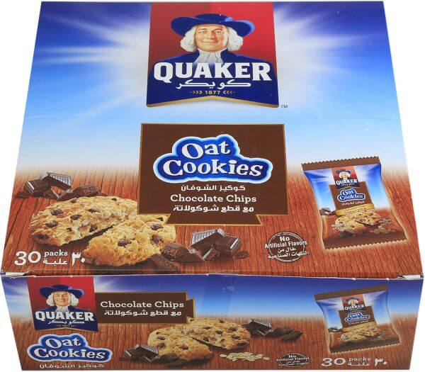 QUAKER OAT COOKIES WITH CHOCOLATE CHIPS , 30 PIECES , 9 GM